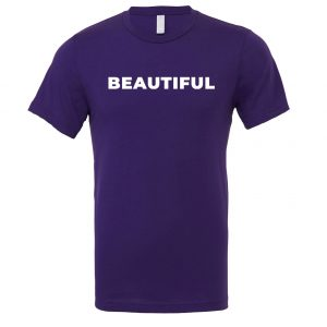 Beautiful | Purple_White T-Shirt Front | EntreVisionU