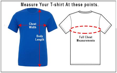 EntreVisionU T-Shirt Measurement Chart