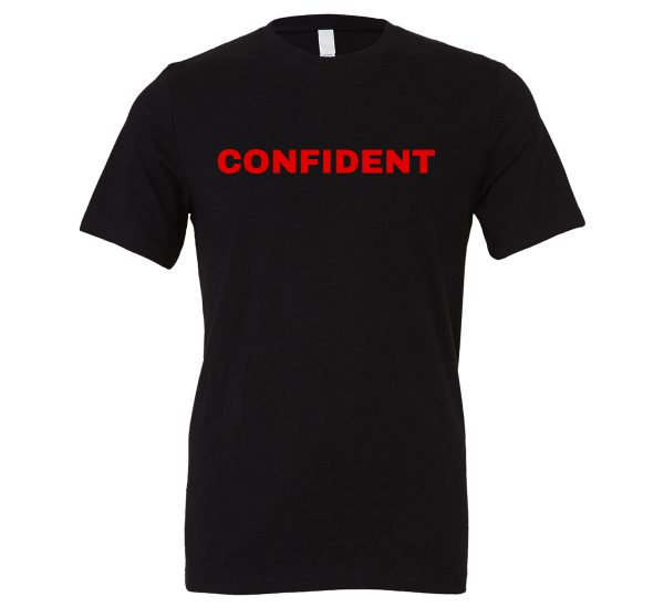 Confident - Black-Red Motivational T-Shirt | EntreVisionU
