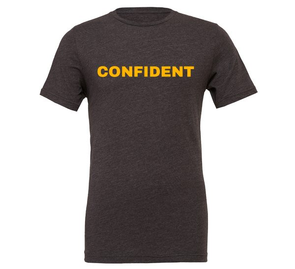 Confident - Dark_Gray-Yellow Motivational T-Shirt | EntreVisionU