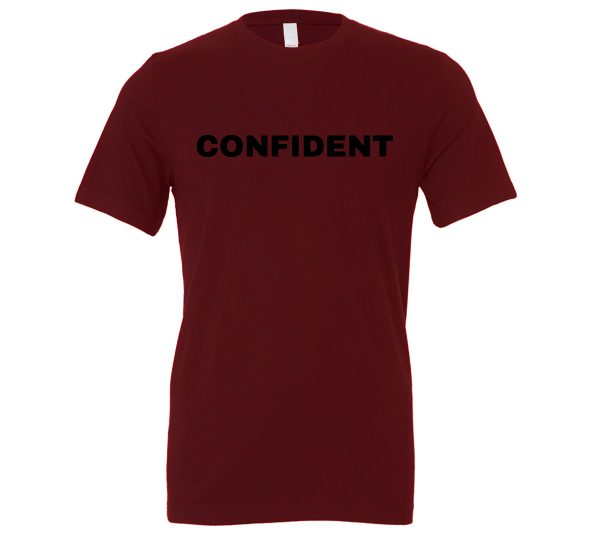 Confident - Maroon-Black Motivational T-Shirt | EntreVisionU