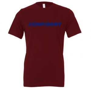 Confident - Maroon-Blue Motivational T-Shirt | EntreVisionU