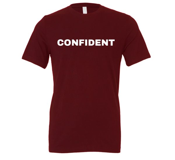 Confident - Maroon-White Motivational T-Shirt | EntreVisionU