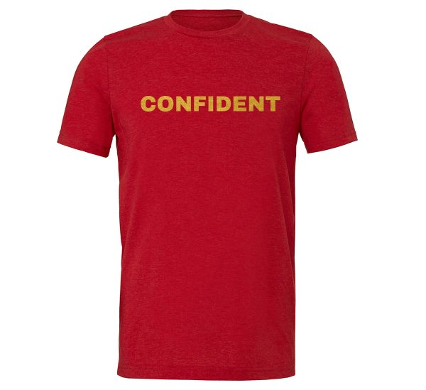 Confident - Red-Gold Motivational T-Shirt | EntreVisionU