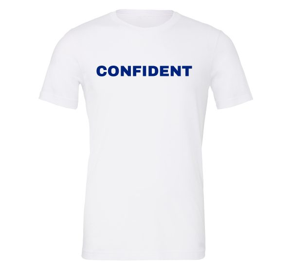 Confident - White-Blue Motivational T-Shirt | EntreVisionU