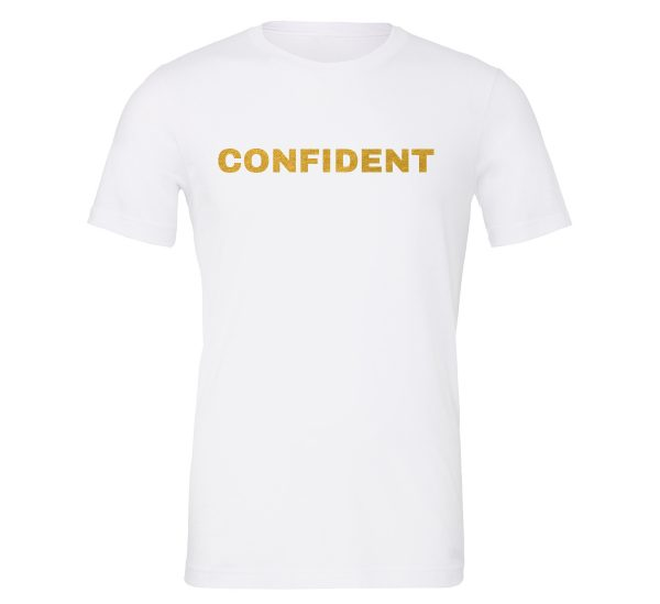 Confident - White-Gold Motivational T-Shirt | EntreVisionU