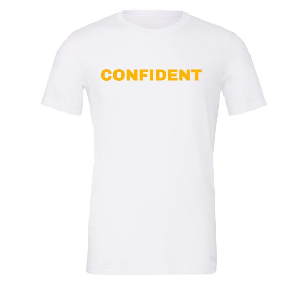 Confident - White-Yellow Motivational T-Shirt | EntreVisionU