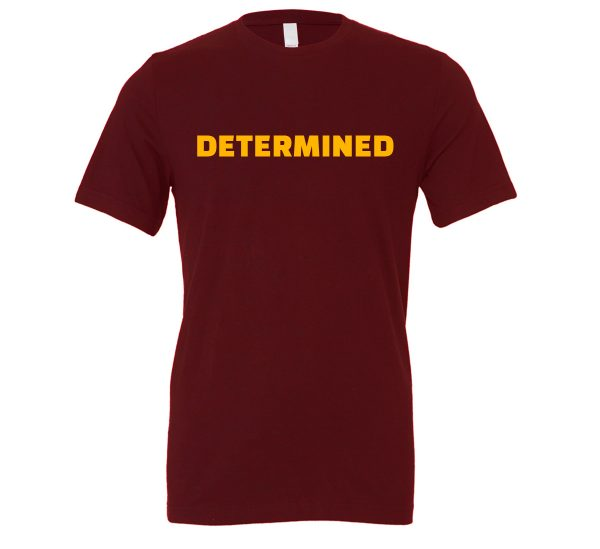 Determined - Maroon-Yellow Motivational T-Shirt | EntreVisionU
