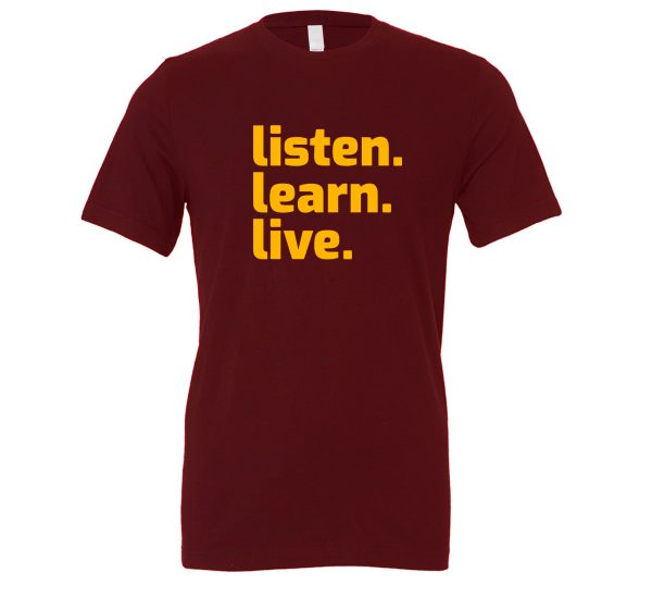 Listen Learn Live - Maroon-Yellow Motivational T-Shirt   EntreVisionU