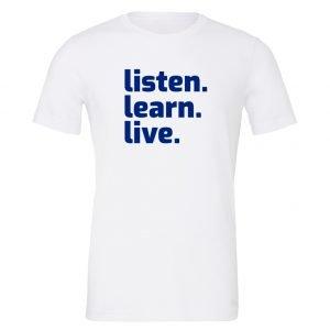 Listen Learn Live | White-Blue Motivational T-Shirt | EntreVisionU