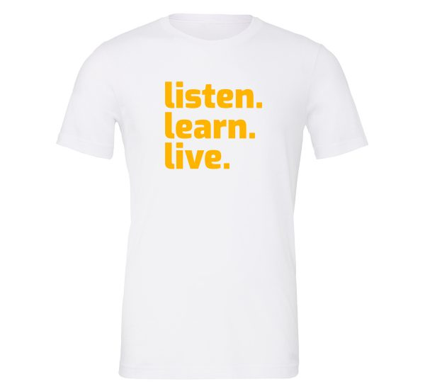 Listen Learn Live White-Yellow Motivational T-Shirt   EntreVisionU