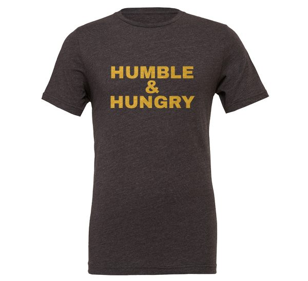 Humble and Hungry | Dark_Gray-Gold Motivational T-Shirt | EntreVisionU