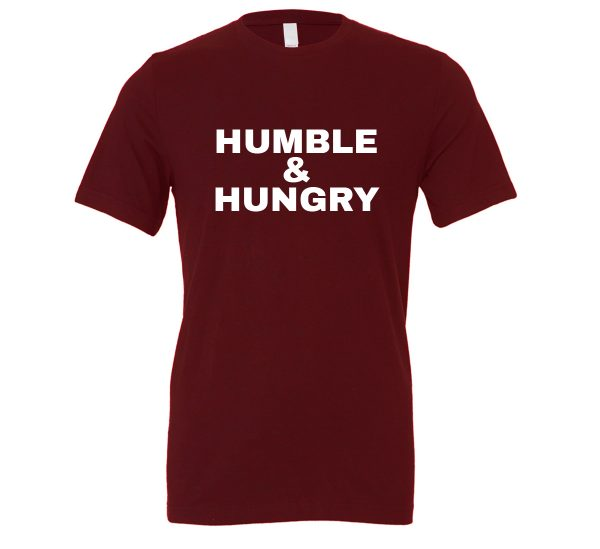 Humble and Hungry - Maroon-White Motivational T-Shirt | EntreVisionU