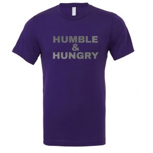 Humble and Hungry - Purple-Silver Motivational T-Shirt | EntreVisionU