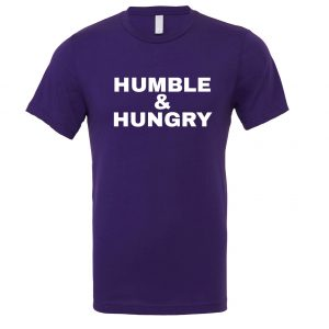 Humble and Hungry - Purple-White Motivational T-Shirt | EntreVisionU