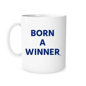 Born a Winner - White_Blue 11 oz Coffee Mug Left_Side | EntreVisionU