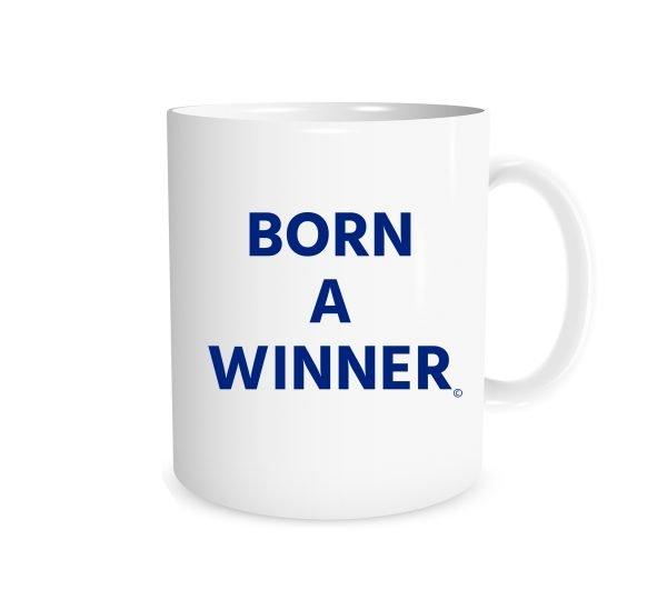 Born a Winner White_Blue 11 oz Coffee Mug Right_Side EntreVisionU