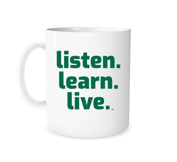Listen Learn Live - White_Green 11 oz Mug   EntreVisionU