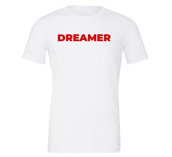Dreamer - White-Red Motivational T-Shirt | EntreVisionU