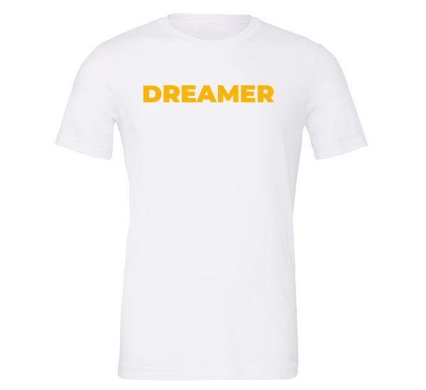 Dreamer - White-Yellow Motivational T-Shirt | EntreVisionU