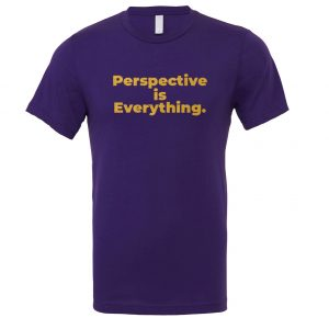 Perspective is Everything - Purple-Gold Motivational T-Shirt | EntreVisionU