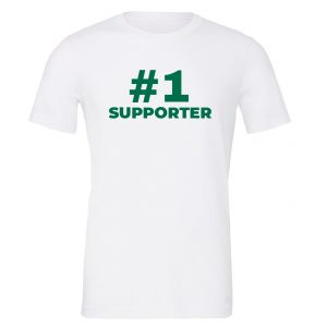 #1 Supporter - White_Green Motivational T-Shirt | EntreVisionU