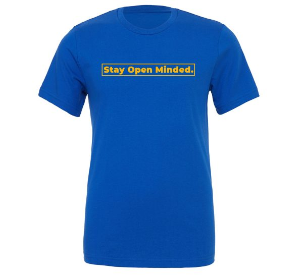 Stay Open Minded - Blue_Yellow Motivational T-Shirt | EntreVisionU