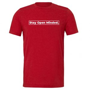 Stay Open Minded - Red_White Motivational T-Shirt | EntreVisionU